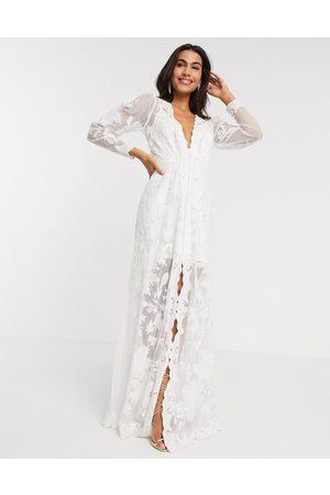 ASOS Gayle - Brudekjole med blouson-ærmer og påbroderet mønster