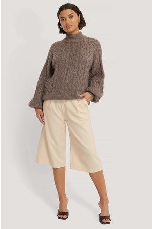NA-KD Kvinder Strik - Cable Hairy Knitted Sweater