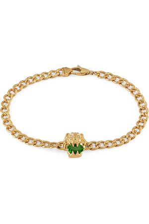 Gucci Lion head 18k bracelet with chrome diopside