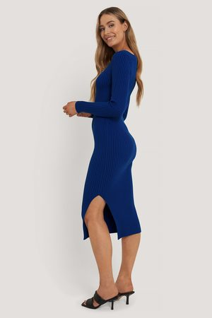 NA-KD Square Neck Side Slit Midi Dress