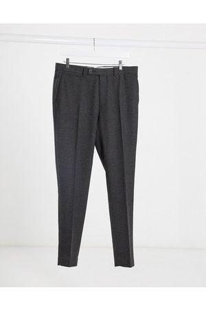 ASOS Wedding - Super skinny habitbukser i koksgrå sildebensmønster i uldblanding