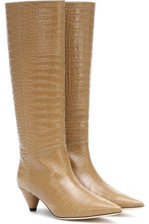 Joseph Kvinder Lange støvler - Croc-effect leather knee-high boots