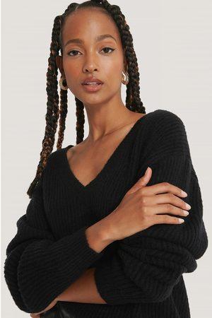 NA-KD Kvinder Strik - Oversized V-neckline Sweater