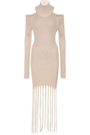 Bottega Veneta Fringed cotton and silk knit dress