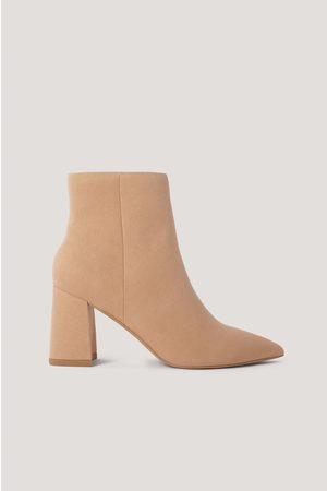 NA-KD Kvinder Støvler - Basic Slanted Heel Faux Suede Boots