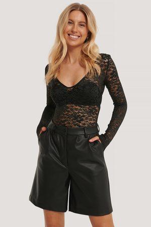 NA-KD Kvinder Bodies - Long Sleeve Lace Body