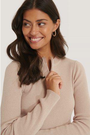 NA-KD Kvinder Strik - Zip Detail Knitted Sweater