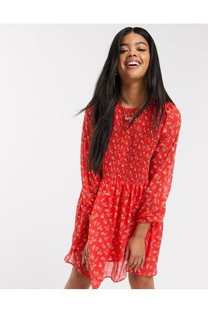 ASOS Rynket mini-smock-kjole i småblomstret print-Multifarvet