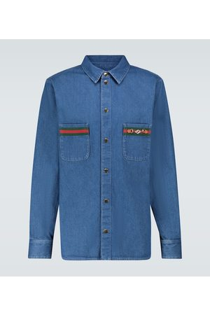 Gucci Stonewashed denim shirt with Web