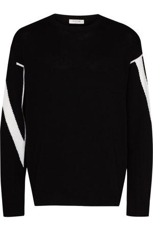 VALENTINO Intarsia-sweater i kashmir med VLTN-logo