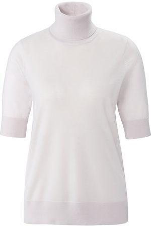 Peter Hahn Strikbluse rullekrave i 100% ren ny uld Fra hvid