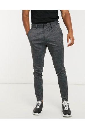Jack & Jones Intelligence - Mørkegrå jerseybukser i slim fit med tern