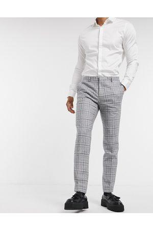 Shelby & Sons — Grå og blå habitbukser med smal pasform og tern