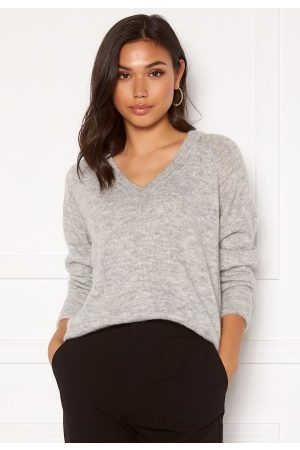 Selected Lulu LS Knit V-Neck Light Grey Melange L