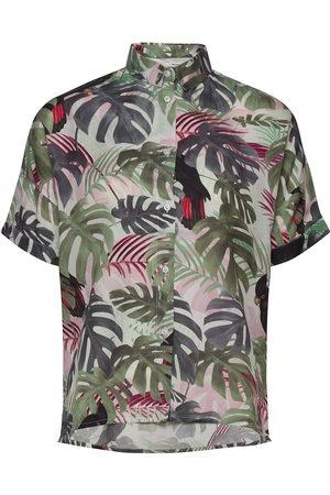 Dedicated Shirt Short Sleeve Nibe Color Leaves Kortærmet Skjorte