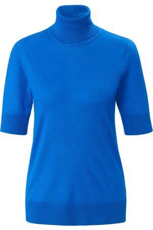 Peter Hahn Strikbluse rullekrave i 100% ren ny uld Fra blå