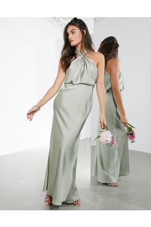 ASOS — Salviegrøn maxikjole i satin med rynket halterneck