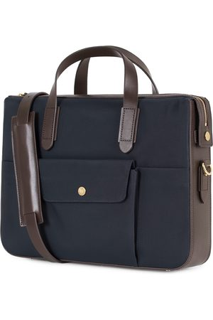 Mismo M/S Nylon Briefcase Navy/Dark Brown
