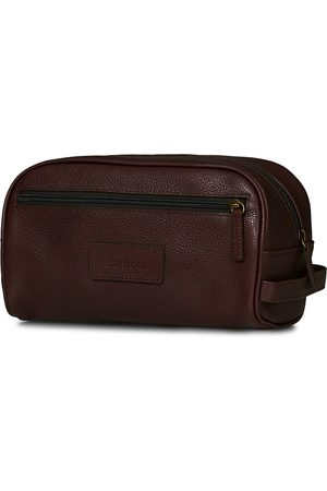 Barbour Mænd Toilettasker - Leather Washbag Dark Brown