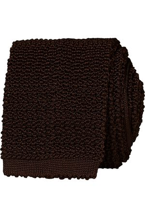 Drake's Knitted Silk 6.5 cm Tie Brown