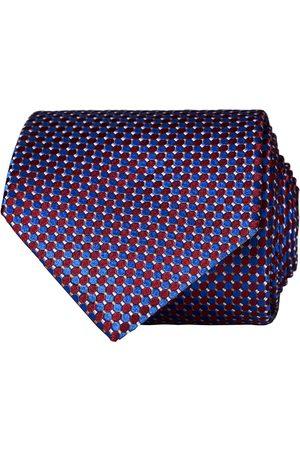 Eton Silk Geometric Weave Tie Blue/Red