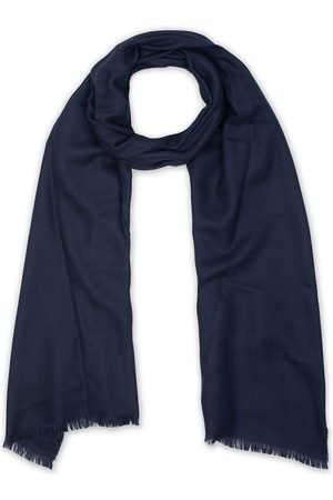 Eton Merino Wool Herringbone Scarf Navy