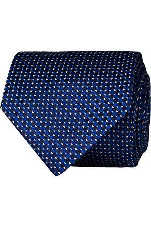 Eton Silk Geometric Weave Tie Navy