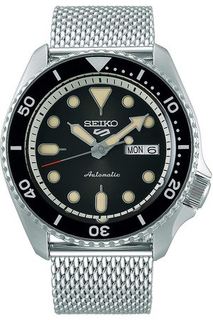 Seiko 5 Sports Mens 43mm 100m Automatic Steel Mesh/Black Dial