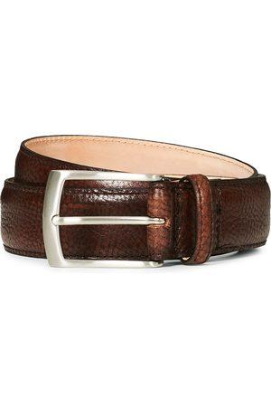 Loake Henry Grained Leather Belt 3,3 cm Dark Brown