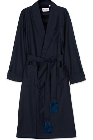 DEREK ROSE Mænd Badekåber - Pure Wool Dressing Gown Navy