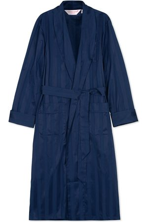 DEREK ROSE Striped Cotton Satin Dressing Gown Navy/Navy