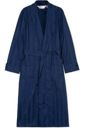 DEREK ROSE Striped Cotton Satin Dressing Gown Navy/Navy