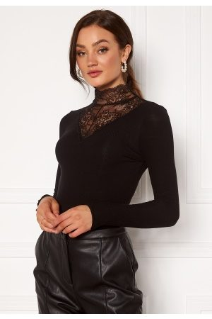 Pieces Siri LS T-Neck Top Black S