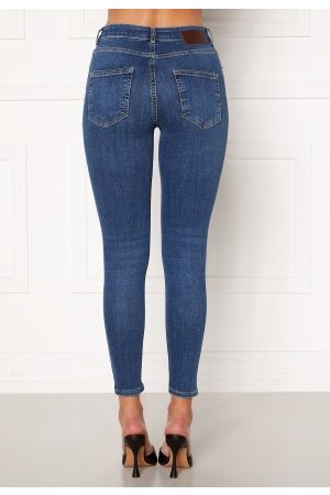 Pieces Kvinder Skinny - Delly Skin MW Jeans Medium Blue Denim L