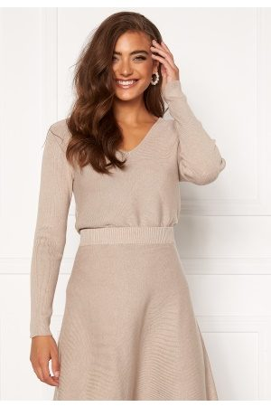 Vila Plisana Knit V-Neck Top Natural Melange S