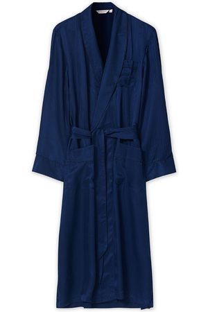 DEREK ROSE Pure Silk Striped Dressing Gown Navy