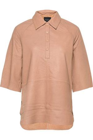 Selected Slfannabella 3/4 Leather Shirt B Kortærmet Skjorte Beige
