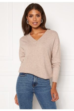 Vila Kvinder Strik - Ril Knit V-Neck Top Simply Taupe L