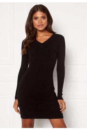 Object Kvinder Strikkede kjoler - Fae Thess L/S Rib Knit Dress Black XL