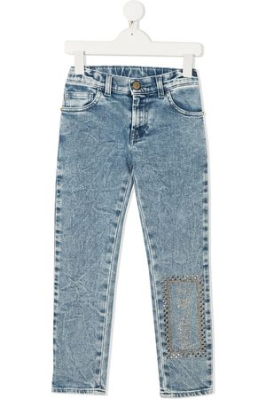 VERSACE Logo embroidered skinny jeans