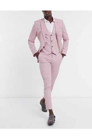 ASOS Wedding - Super skinny habitbukser i rosa crosshatch