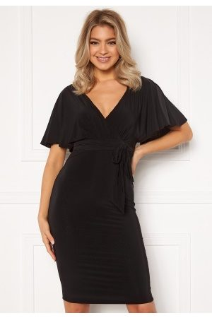 Goddiva Flutter Sleeve Fitted Midi Dress Black M (UK12)
