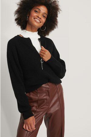 NA-KD Kvinder Strik - Zipper Front Knitted Sweater