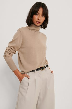 NA-KD Kvinder Strik - Merino Wool High Neck Sweater