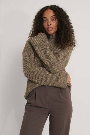 NA-KD Folded Sleeve High Neck Knit Sweater