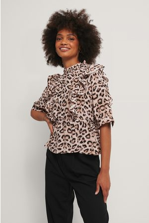 NA-KD High Neck Flounce Top