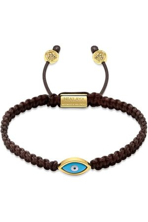 Nialaya Men's Brown String Bracelet with Gold Evil Eye
