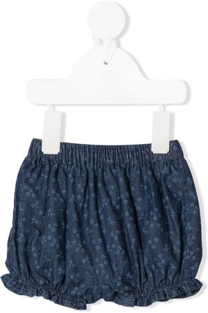 KNOT Amie denim-bloomers med blomstertryk
