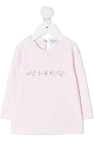 MONNALISA Langærmede - Rhinestone logo long-sleeved T-shirt