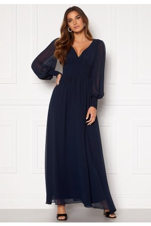 Goddiva Long Sleeve Shirred Maxi Dress Navy S (UK10)